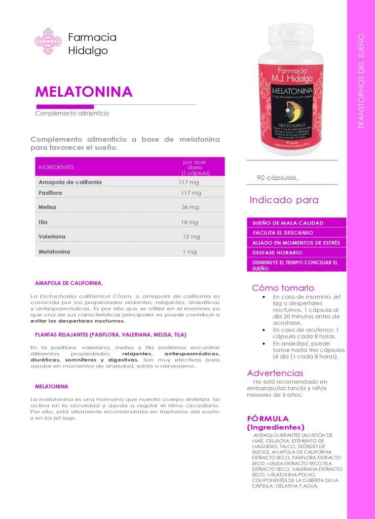 Ficha características, propiedades y beneficios de Melatonina Maria Jose Hidalgo